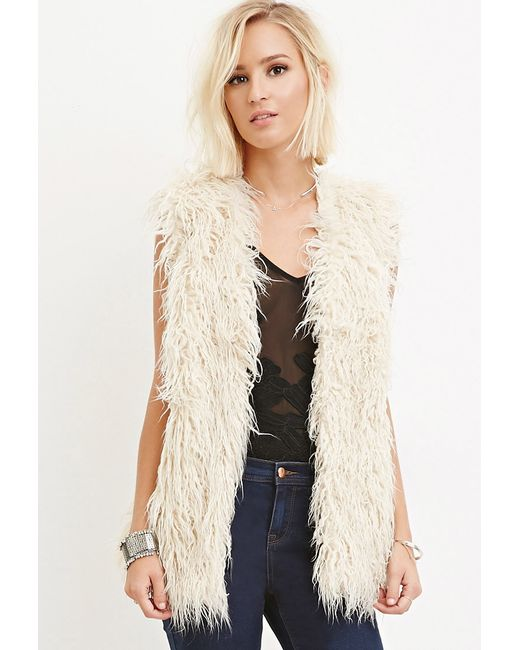 Forever 21 | Natural Shaggy Faux Fur Vest | Lyst