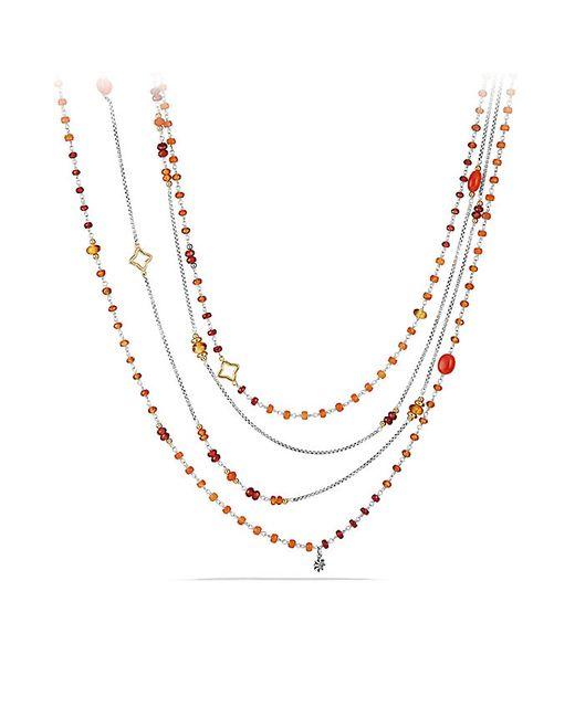David Yurman   Metallic Bead And Chain Necklace With Carnelian, Garnet And 18k Gold   Lyst