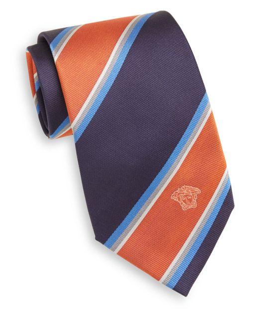 Versace | Blue Wide Stripe Silk Tie for Men | Lyst