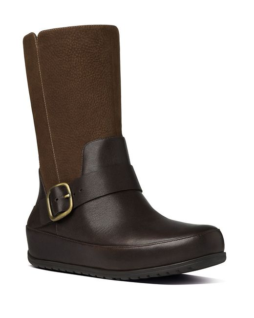fitflop leather and suede moto boots in brown save 59