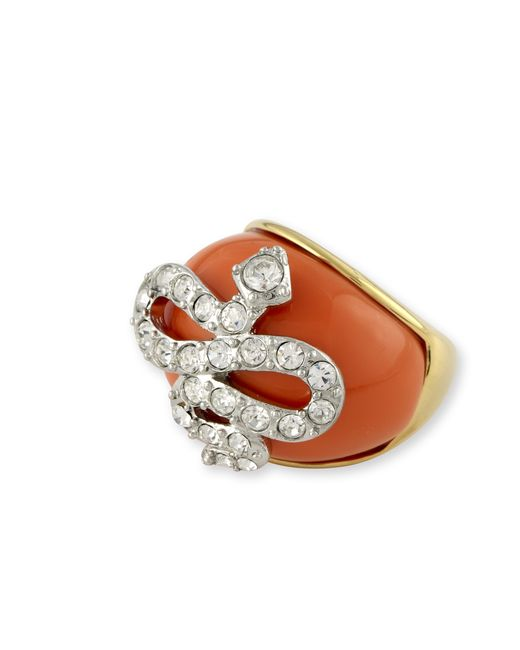 Kenneth Jay Lane | Orange Coral Snake Ring | Lyst
