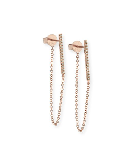 EF Collection   Pink Diamond Bar And Chain Stud Earrings   Lyst