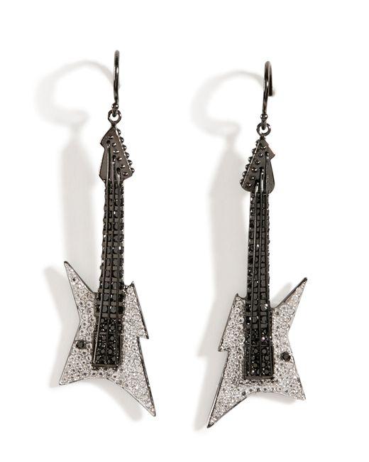 Lynn Ban | Black Rhodium Silver Guitar Earrings B In White | Lyst