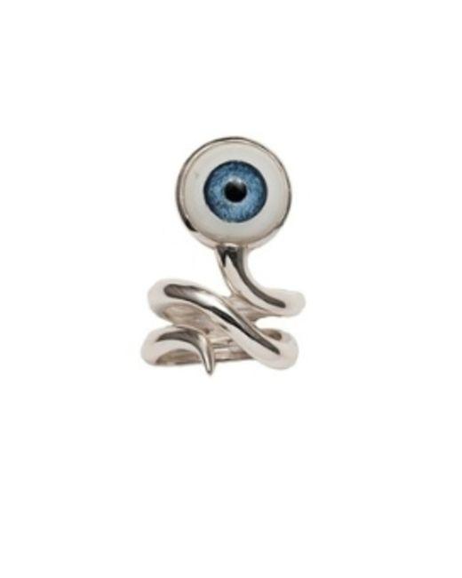 Bernard Delettrez | Metallic Silver Snake Ring With Eye | Lyst