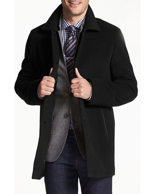 Cole Haan | Black Italian Wool Overcoat for Men | Lyst
