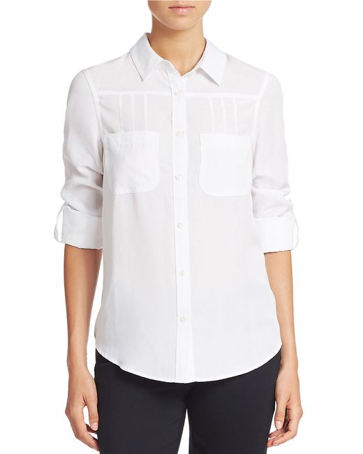 Lord & Taylor | White Roll-tab Blouse | Lyst