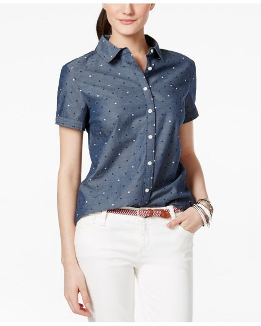 Tommy hilfiger polka dot short sleeve shirt in blue navy for Mens polka dot shirt short sleeve