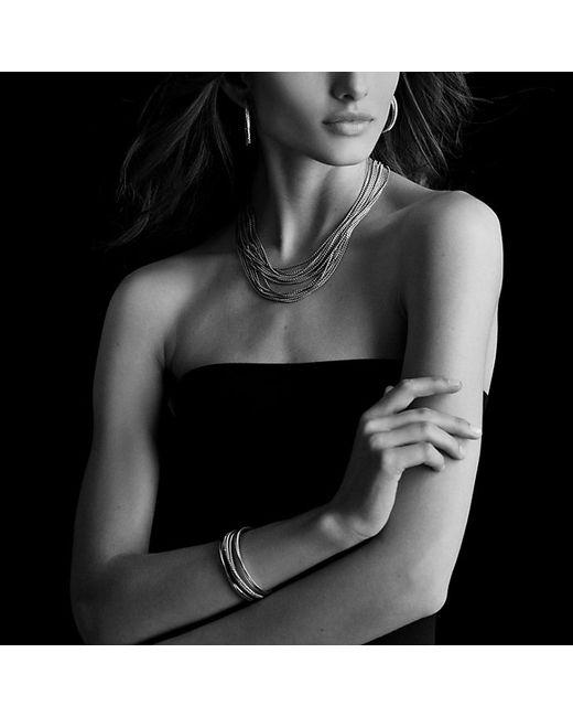 David Yurman | Metallic Crossover Four-row Cuff Bracelet With Diamonds | Lyst