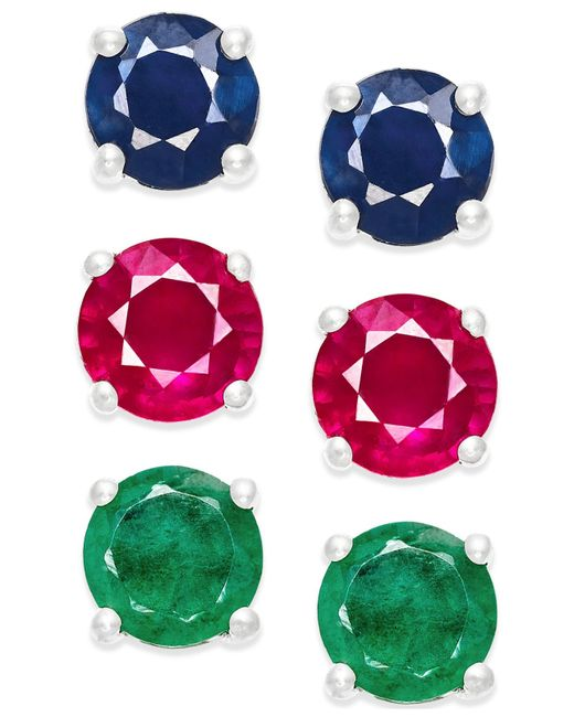 Macy's | Metallic Sapphire, Ruby And Emerald Stud Earring Set In Sterling Silver (3 Ct. T.w.) | Lyst