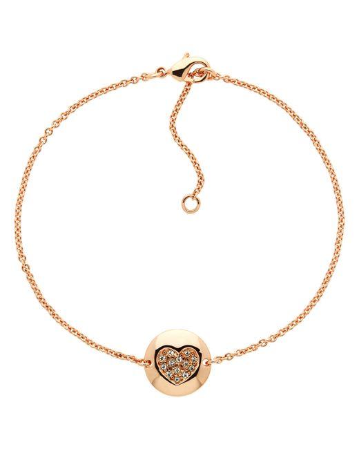 Melissa Odabash | Pink Rose Gold Plated Swarovski Crystal Heart Disc Bracelet | Lyst