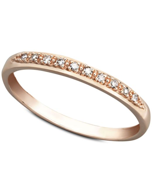 Macy s 14k White Yellow Rose Gold Ring Pave Diamond Accent Band in