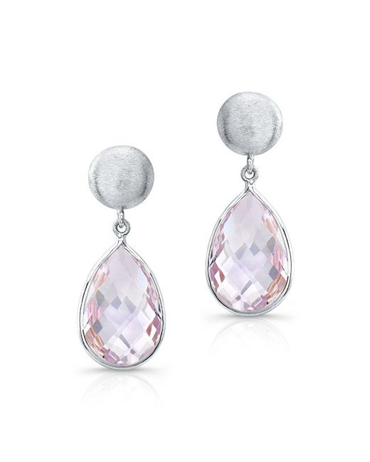 Anne Sisteron | 14kt White Gold Pink Amethyst Pear Drop Earrings | Lyst