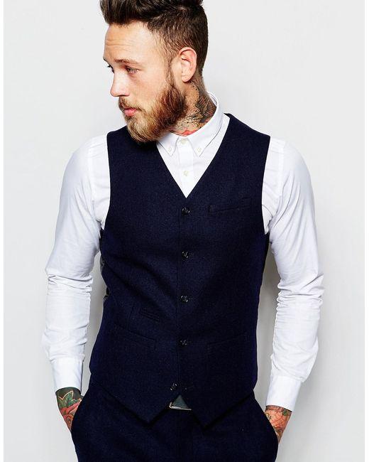 ASOS | Black Slim Waistcoat In 100% Wool - Navy for Men | Lyst