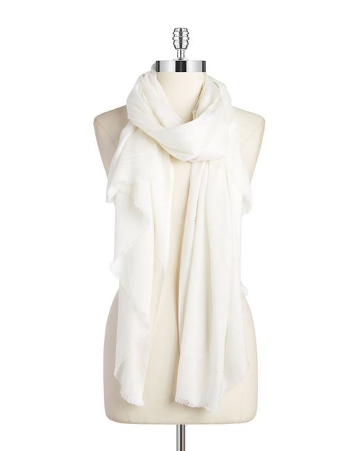 Lord & Taylor | White Solid Fringed Pashmina Scarf | Lyst