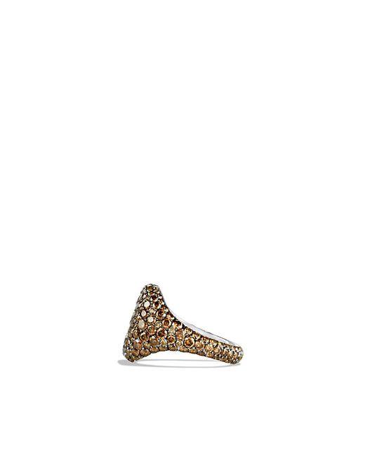 David Yurman | Brown Pavé Pinky Ring With Cognac Diamonds In 18k White Gold | Lyst