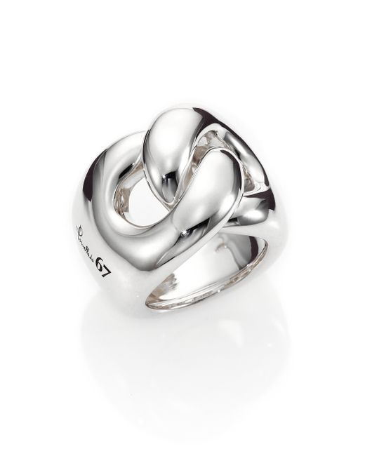 Pomellato | Metallic Sterling Silver Gourmette Link Knot Ring | Lyst
