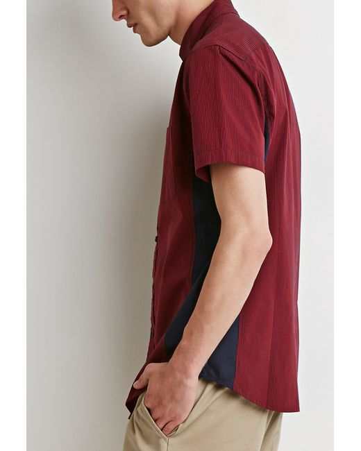 Forever 21 | Red Colorblock Micro-stripe Shirt for Men | Lyst