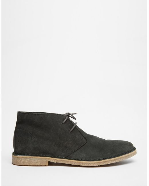 asos desert boots in suede in gray for grey lyst