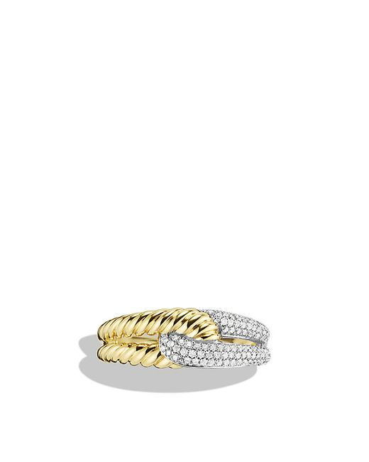 David Yurman | Metallic Labyrinth Single-loop Ring With Diamonds In Gold | Lyst