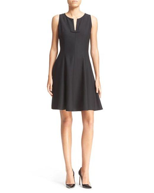 Kate spade crepe fit amp flare dress in black lyst