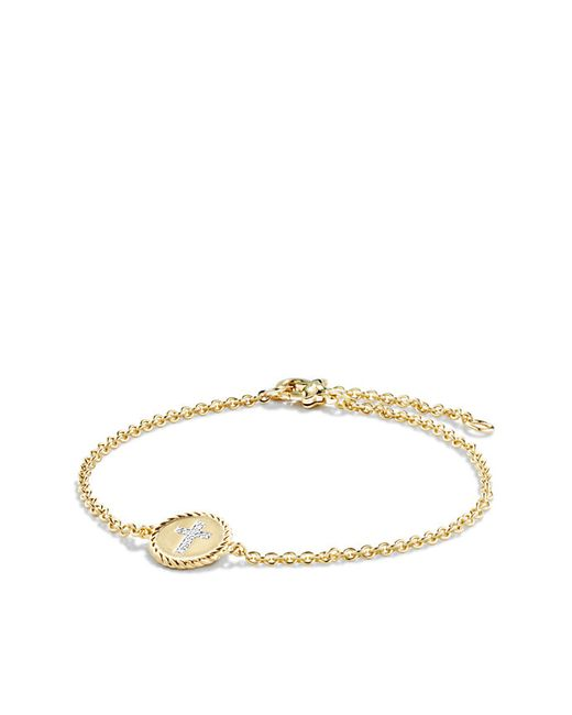 David Yurman | Metallic Cable Collectibles Cross Bracelet With Diamonds In 18k Gold | Lyst