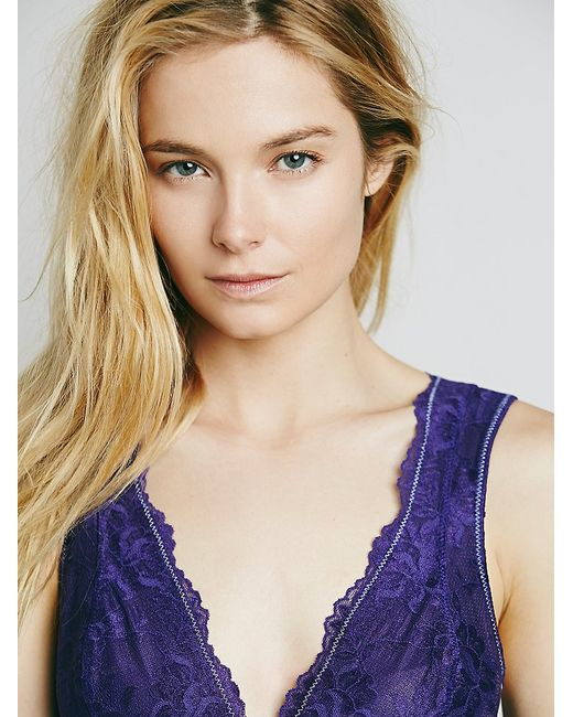 Free People | Purple Galloon Lace Deep V Bra | Lyst