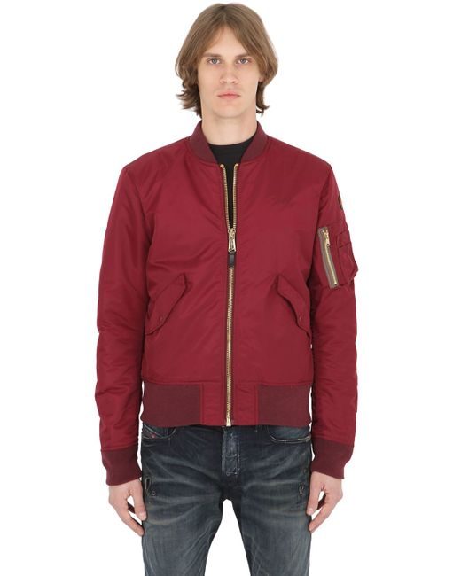 american university usa schott nylon bomber jacket in multicolour for men bordeaux lyst. Black Bedroom Furniture Sets. Home Design Ideas