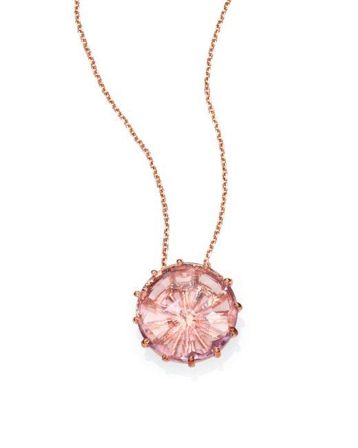 KALAN by Suzanne Kalan | Pink Rose De France & 14k Rose Gold Round Pendant Necklace | Lyst