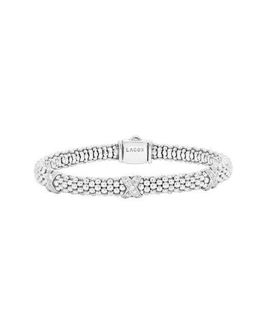 Lagos   Metallic 'signature Caviar' Diamond Rope Bracelet   Lyst