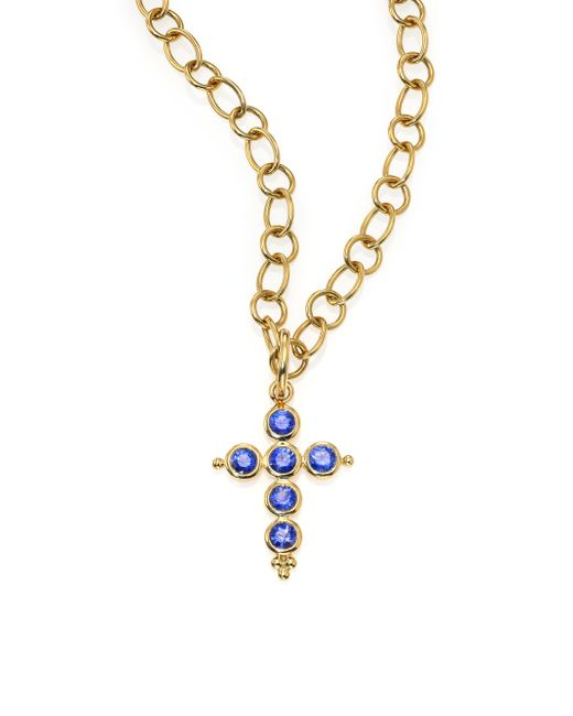 Temple St. Clair | Metallic Classic Color Sapphire & 18k Yellow Gold Cross Pendant | Lyst