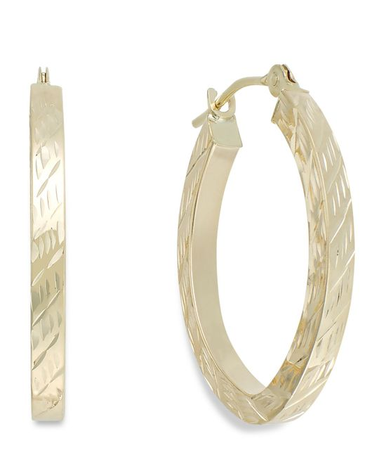 Macy's | Metallic Textured Oval Hoop Earrings In 10k Gold, 16mm | Lyst