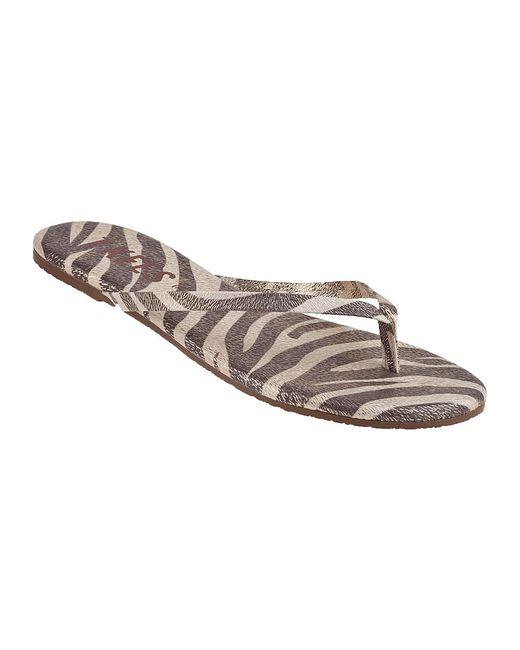 Thong style construction. Interior logo size may vary. Cushioned leather footbed. Flexible rubber outsole. Made in Brazil. TKEES offers whole sizes and suggests sizing up for half-sizes. Measurements: .