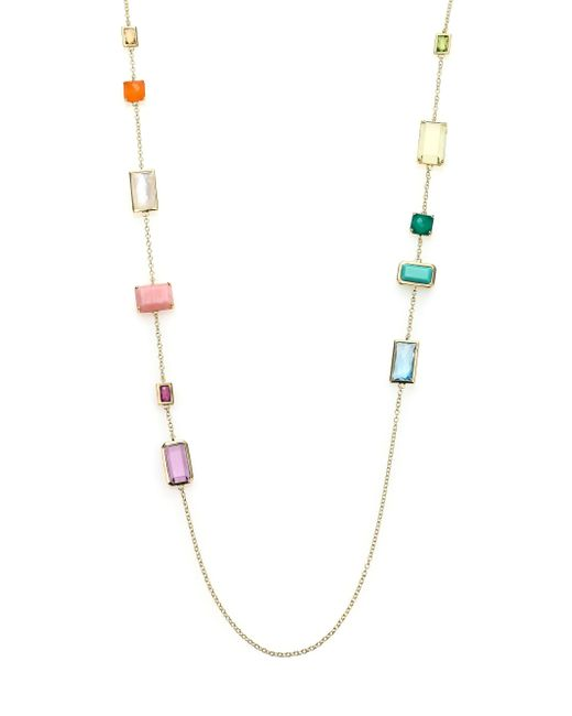 Ippolita | Metallic Rock Candy Summer Rainbow Semi-precious Multi-stone & 18k Yellow Gold Rectangle Station Necklace | Lyst