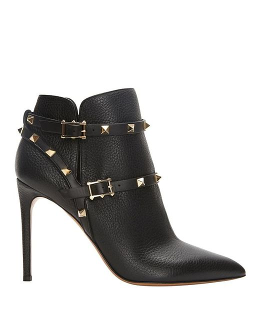 Valentino | Black 'rockstud' Leather Boots | Lyst