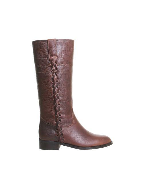 office elk side detail knee boots in brown save 47 lyst