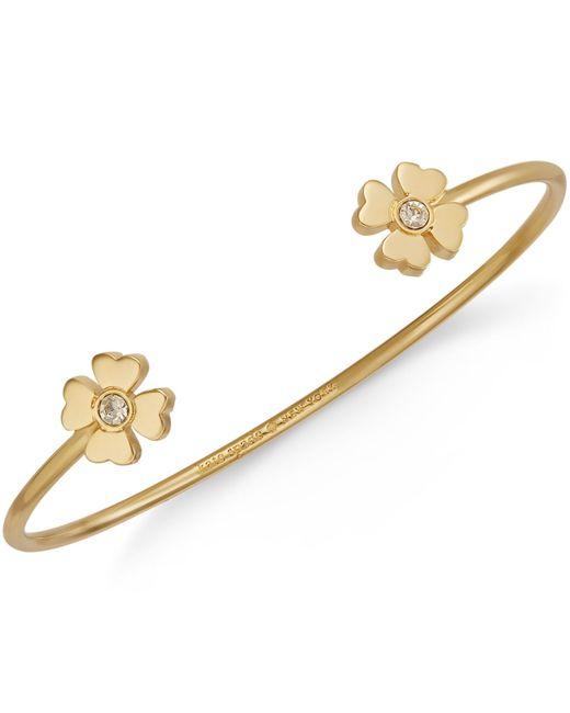 Kate Spade | Metallic Gold-tone Four Leaf Clover Cuff Bracelet | Lyst
