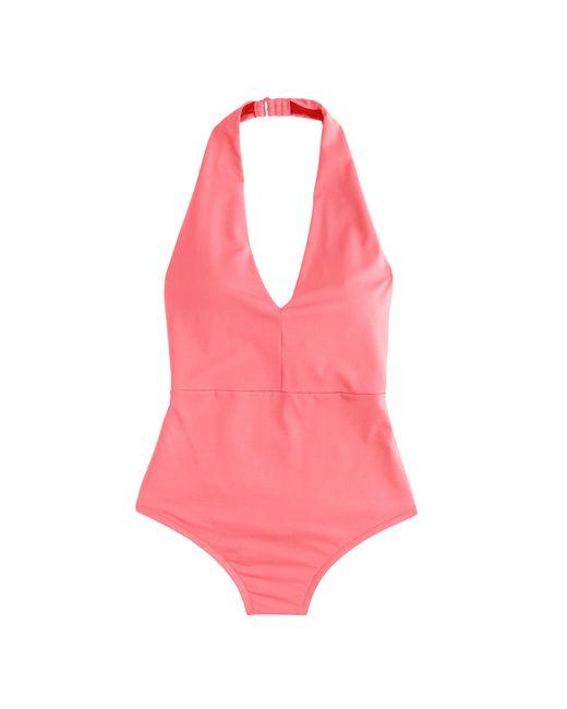 J.Crew | Pink Italian Matte Halter One-piece Swimsuit | Lyst