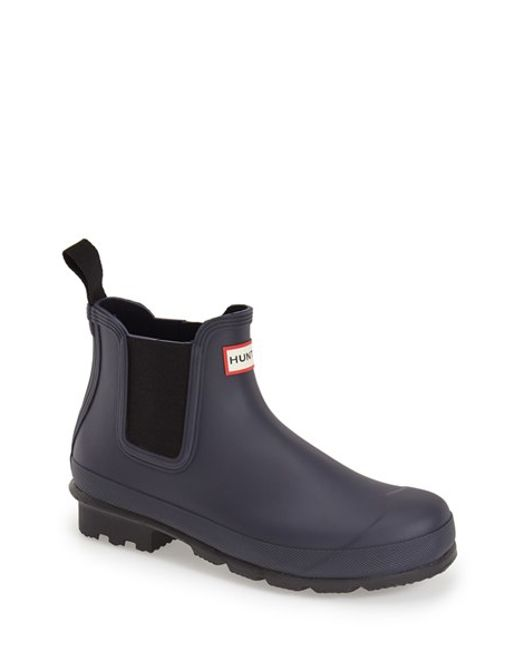 Hunter | Blue 'original' Waterproof Chelsea Rain Boot for Men | Lyst