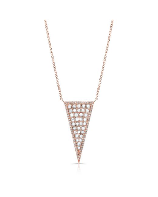 Anne Sisteron | Pink 14kt Rose Gold Diamond Slice Triangle Necklace | Lyst