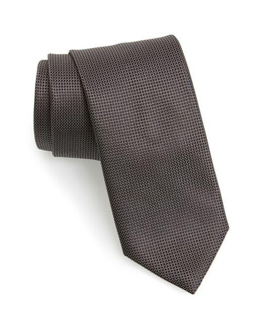 Canali   Black Solid Silk Tie for Men   Lyst