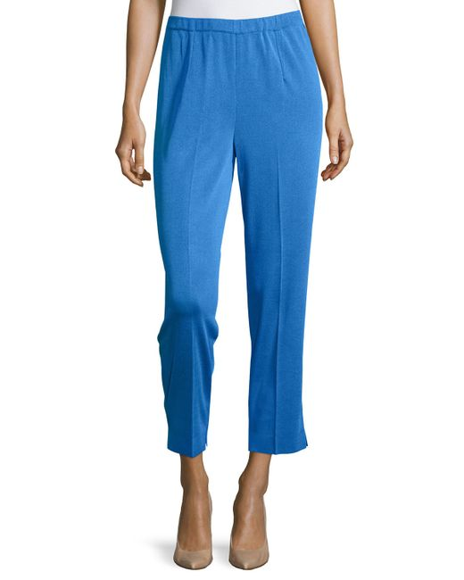 Ming Wang | Blue Straight-leg Ankle Pants | Lyst