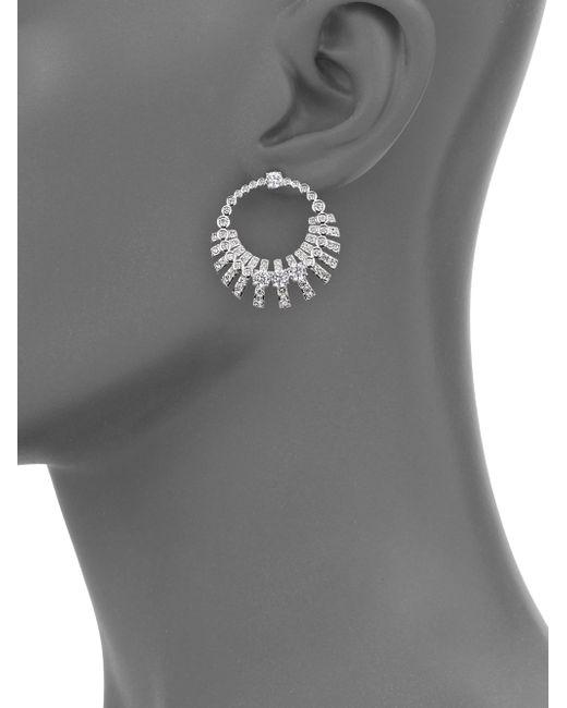 Adriana Orsini | Metallic Decadence Crystal Drop Hoop Earrings | Lyst