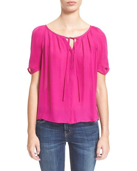 Joie | Pink 'berkeley' Silk Top | Lyst
