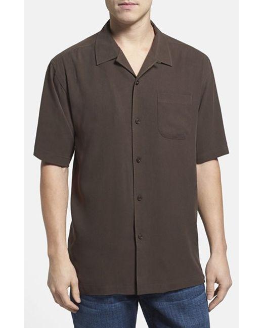 Tommy bahama 39 catalina twill 39 silk camp shirt in brown for for Tommy bahama catalina twill silk camp shirt