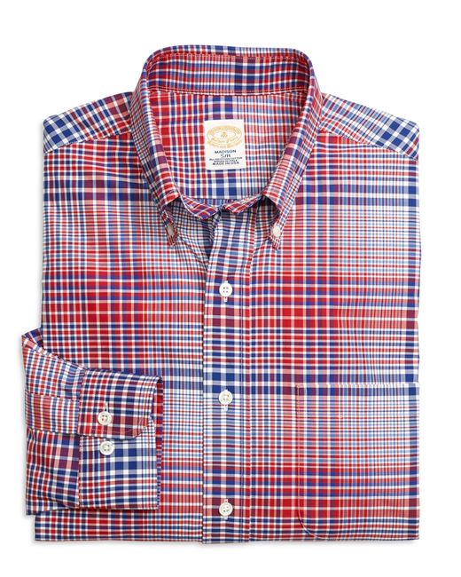 Brooks brothers golden fleece madison fit bold plaid for Brooks brothers tall shirts
