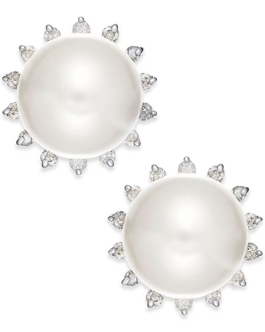 Macy's | White 14ky 8mm Cultured Fresh Water Pearl 1/5 Ct Diamond Earrings | Lyst