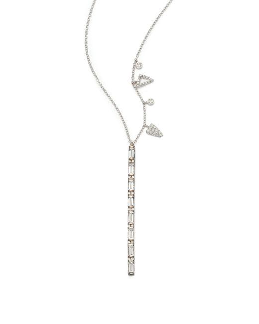 Meira T | Metallic White Topaz, Diamond & 14k White Gold Bar Pendant Necklace | Lyst