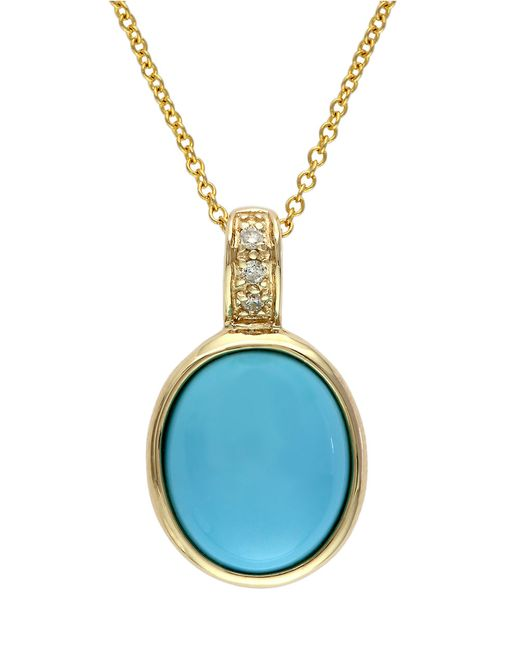 Effy | Blue Turquesa 14k Gold And Turquoise Pendant Necklace With Diamond Accents | Lyst