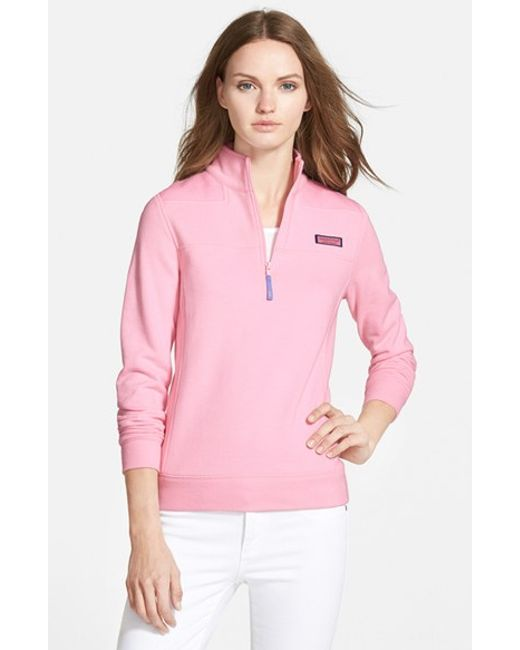 Vineyard Vines | Pink 'shep' Half Zip French Terry Pullover | Lyst