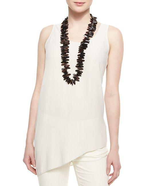 Eileen Fisher | White Silk Asymmetric Draped Shell | Lyst